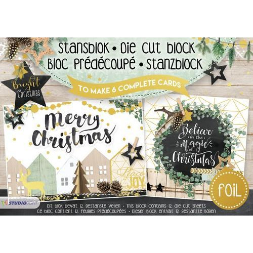 Studio Light Die cut blocs A5 folie 12 vel Bright Christmas A5STANSBLOKSL15 (06-18)