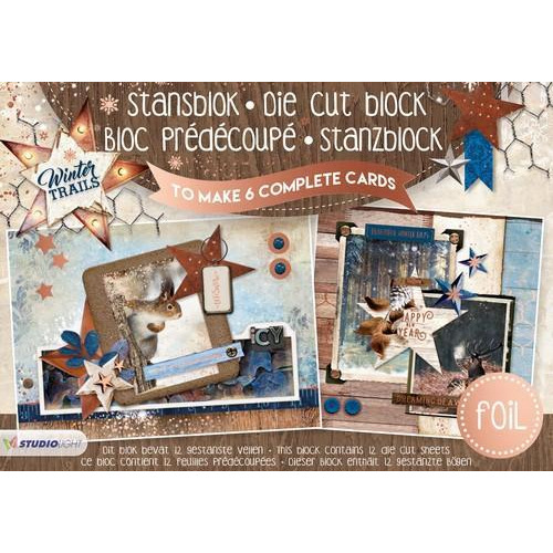 Studio Light Die cut blocs A5 folie 12 vel Winter Trails A5STANSBLOKWT18 (06-18)