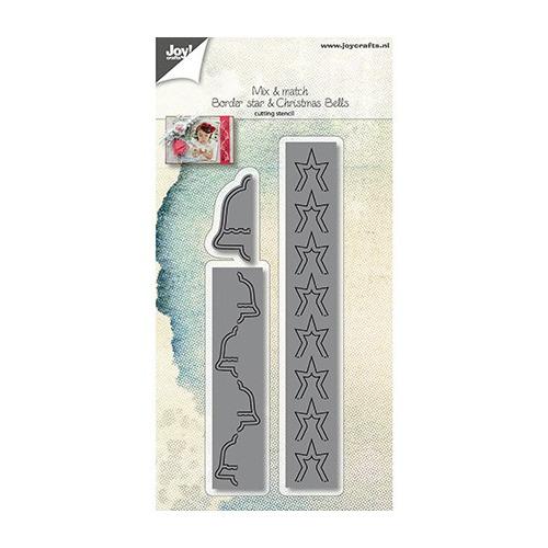 Cutting Snijstencil - Mix&Match - Rand ster + Kerstklokken