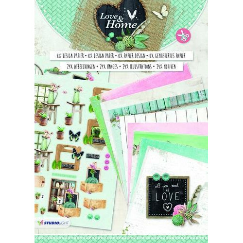 Studio Light Die cut blocs A4 16 vel Love & Home nr 01 PAPERBLOCKLH01 (06-18)