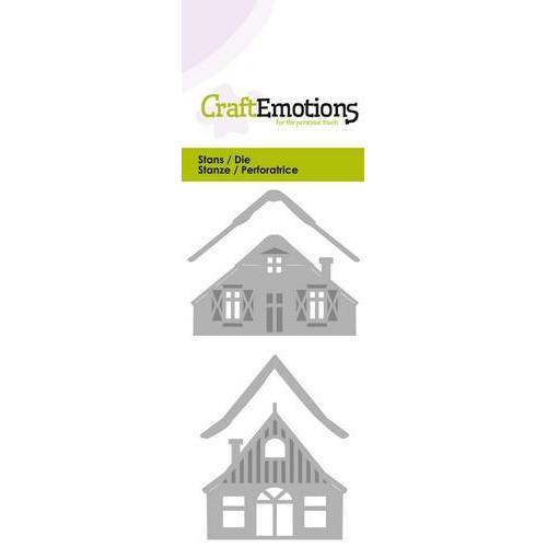 CraftEmotions Die - 2 huisjes met sneeuw Card 5x10cm (08-18)
