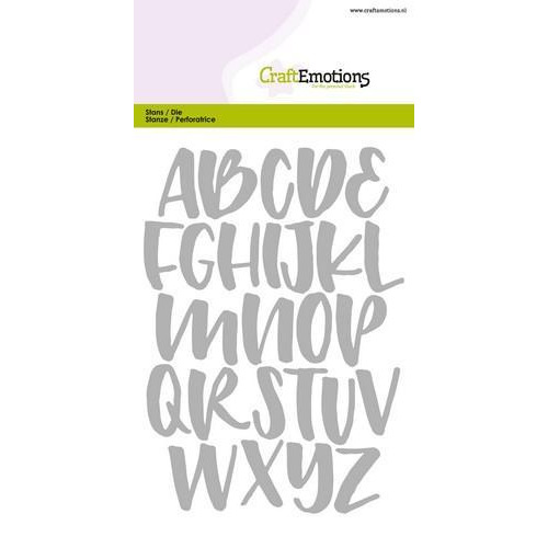 CraftEmotions Die - alfabet handlettering hoofdletters Card 10,5x14,8cm (08-18)
