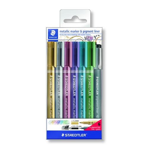 metallic marker - set 6 kleuren + pigment liner
