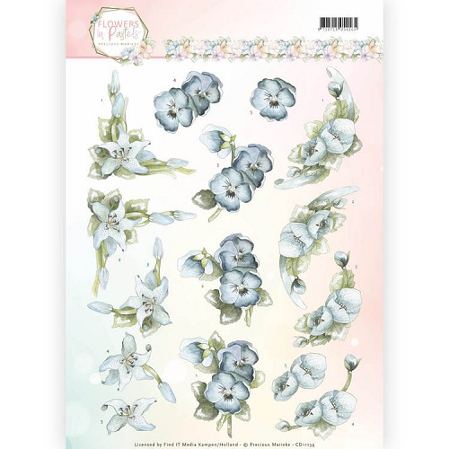 3D Knipvel - Precious Marieke - Flowers in Pastels - True Blue