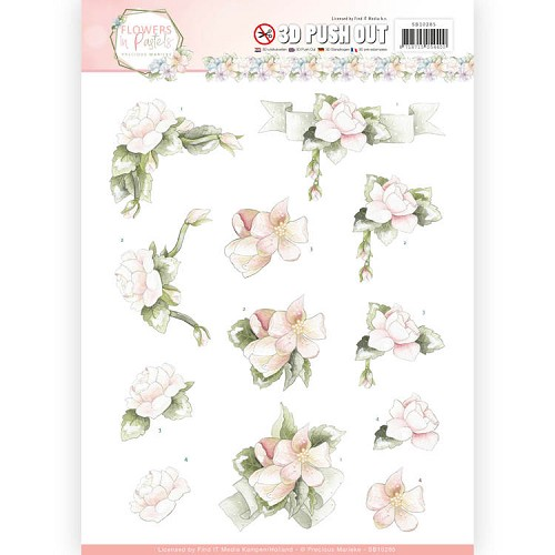 3D Pushout - Precious Marieke - Flowers in Pastels - Believe in Pink