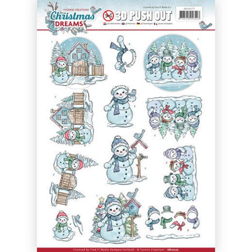 3D Pushout - Yvonne Creations - Christmas Dreams - Snowman