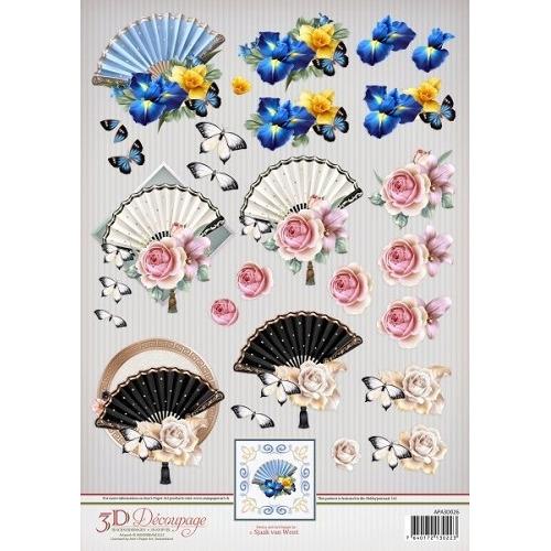 Ann`s Paper Art 3D Decoupage Sheet - Flowery Fans