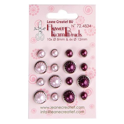 Flower Foam pearl brads pink & bordeaux 6x 12mm. & 10x 8mm.