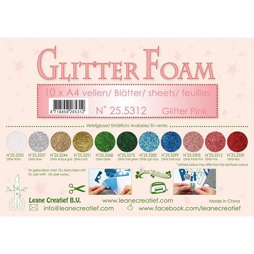 10 Glitter foam sheets A4 Glitter Pink