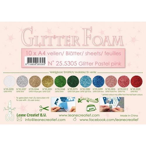 10 Glitter foam sheets A4 Glitter Pastel Pink