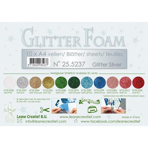 10 Glitter foam sheets A4, Glitter Silver
