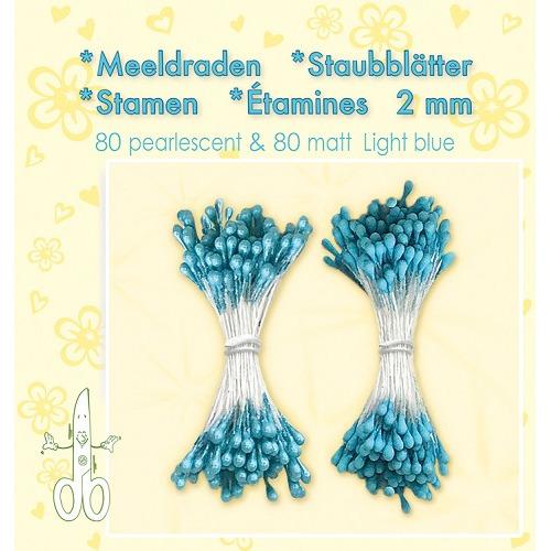 Meeldraden-Stamen-Staubblätter-Étamines 2mm, ±80 matt & 80 pearl Light Blue
