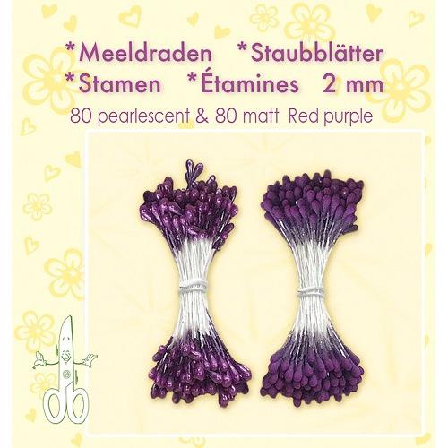 Meeldraden-Stamen-Staubblätter-Étamines 2mm, ±80 matt & 80 pearl Red Purple