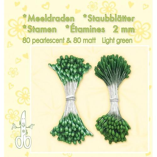 Meeldraden-Stamen-Staubblätter-Étamines 2mm, ±80 matt & 80 pearl Light Green