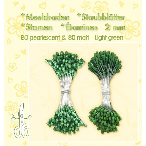 Meeldraden-Stamen-Staubblätter-Étamines 2mm, ±80 matt & 80 pearl Light Green