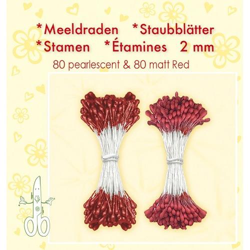 Meeldraden-Stamen-Staubblätter-Étamines 2mm, ±80 matt & 80 pearl Red