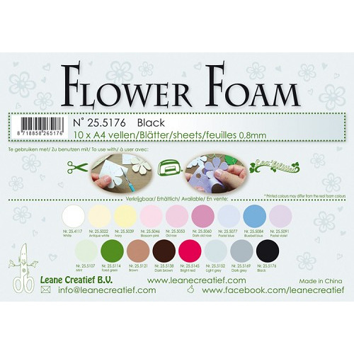 10 Flower foam sheets A4 0.8mm. Black
