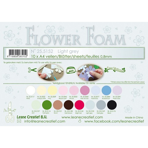 10 Flower foam sheets A4 0.8mm. Light grey