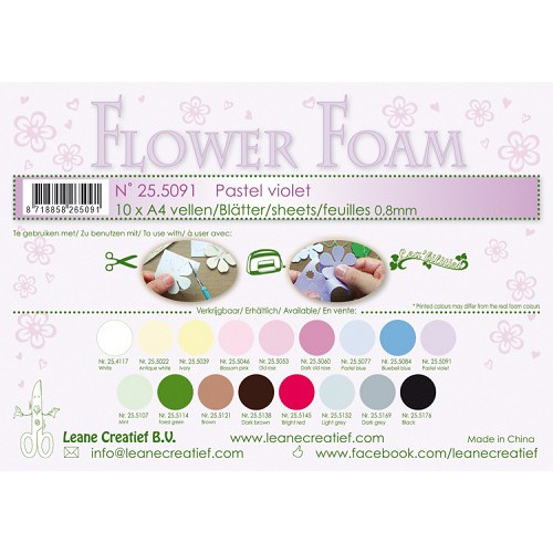10 Flower foam sheets A4 0.8mm. Pastel violet