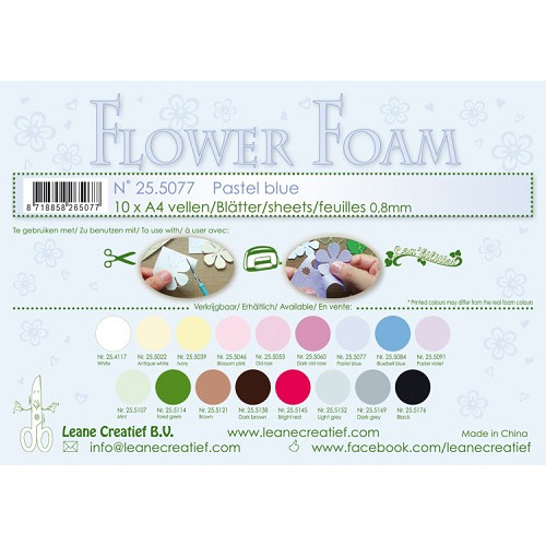 10 Flower foam sheets A4 0.8mm. Pastel blue