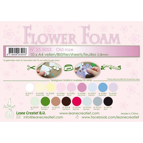 10 Flower foam sheets A4 0.8mm. Old rose