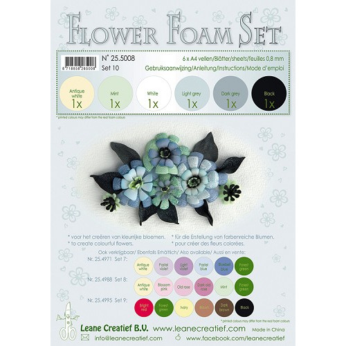 Flower Foam Set 10, 6 sheets A4 0.8mm. black-grey colours incl. instructions.