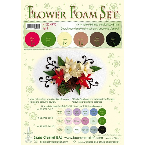 Flower Foam Set 9, 6 sheets A4 0.8mm. brown-red-green colours incl. instructions.