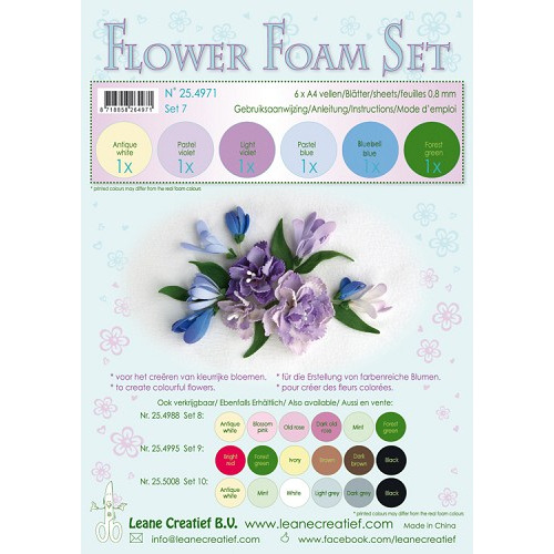 Flower Foam Set 7, 6 sheets A4 0.8mm. pastel blue/violet colours incl. instructions.