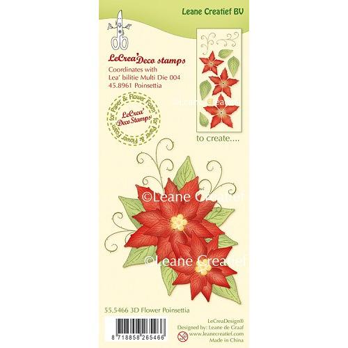 LeCreaDesign® clear stamp 3D Flower Poinsettia (combineren mogelijk met Leabilitie die 45.8961)