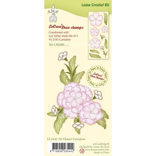 LeCreaDesign® clear stamp 3D Flower Carnation (combineren mogelijk met Leabilitie die 45.5343)