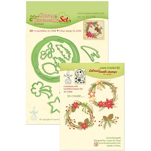 Leabilitie® Set met Contour snijmal en clear stamp Christmas wreath