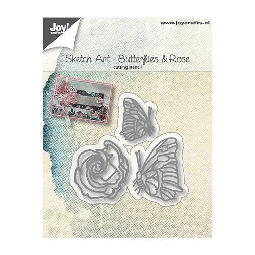 Snijstencils - Sketch Art - Vlinders en roos