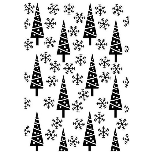 "Embossing Folder Christmas background ""pine-trees and snowflakes"""