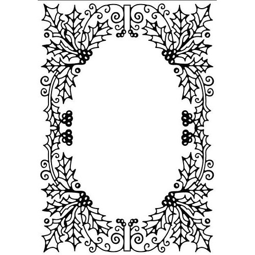 "Embossing Folder Christmas ""Holly oval frame"""