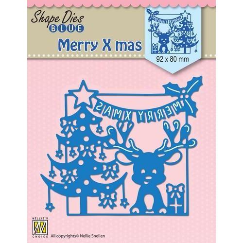 Nellie's Choice Shape Die Vrolijk kersttafereel SDB065 92x80mm (8-18)