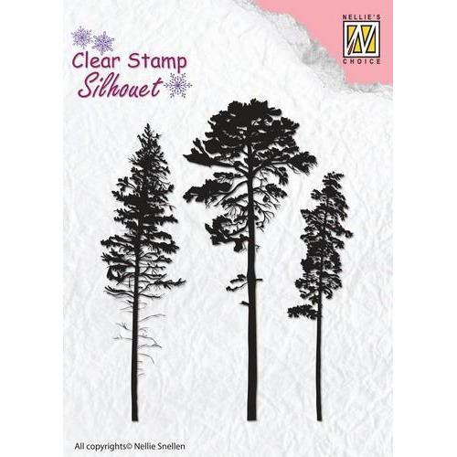Nellie`s Choice Silhouette Clear Stamps 3 naaldbomen SIL037 64x83mm (8-18)