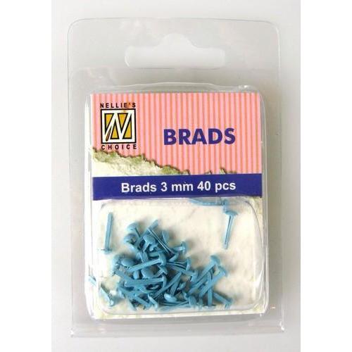 Nellie's Choice Floral brads Baby blauw 3mm 40 ST FLP-BR-012 (8-18)