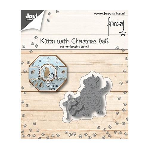 Cutting Embossing Snij-embosstencil - Franciens Kitten met kerstbal