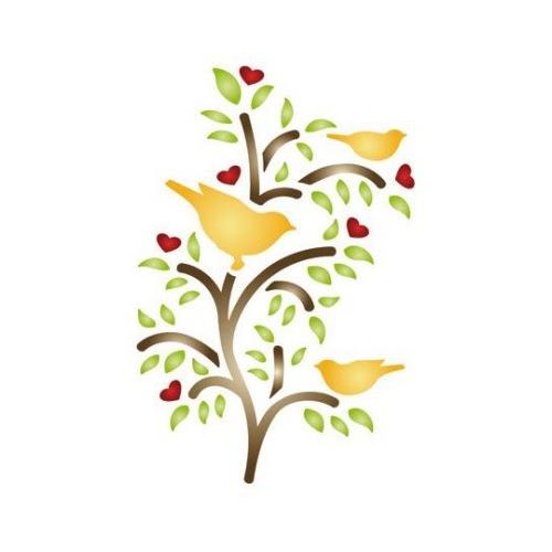 stencil a6 birds in tree