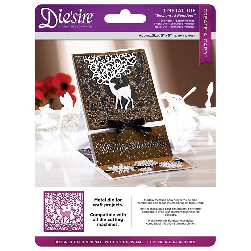 Crafter`s Companion Die`sire Christmas 5x5 `Create-a-Card` Metal Die - Enchanted Reindeer