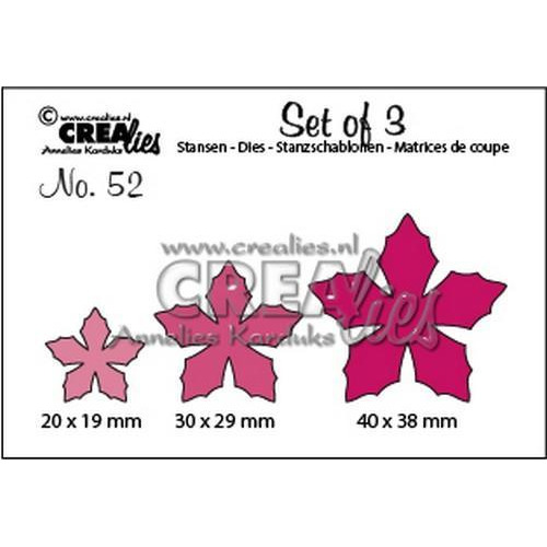 Crealies Set of 3 no. 52 bloemen 23 CLSet 52 20 x 19 mm - 40 x 38 mm   (09-18)