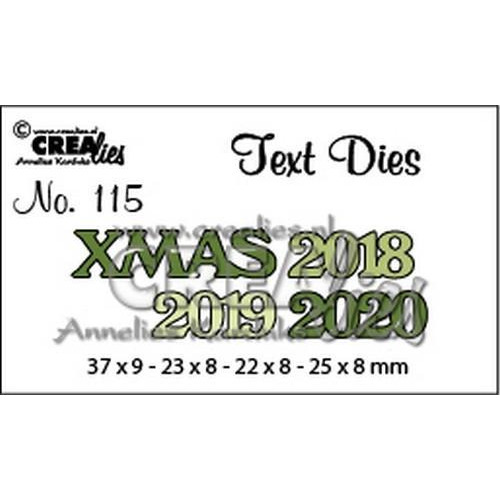 Crealies Text Dies XMAS 2018 2019 2020 CLTD 37 X 9 - 22 x 8 - 25 x 8 mm  (09-18)