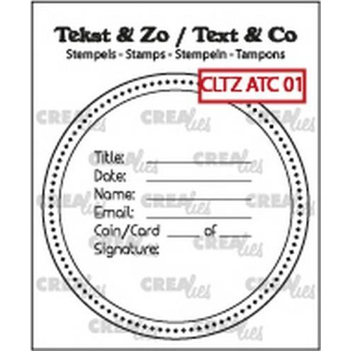 Crealies Clearstamp Tekst & Zo tekst voor ATC/AT Coin CLTZATC01 51 x 51 mm  (09-18)