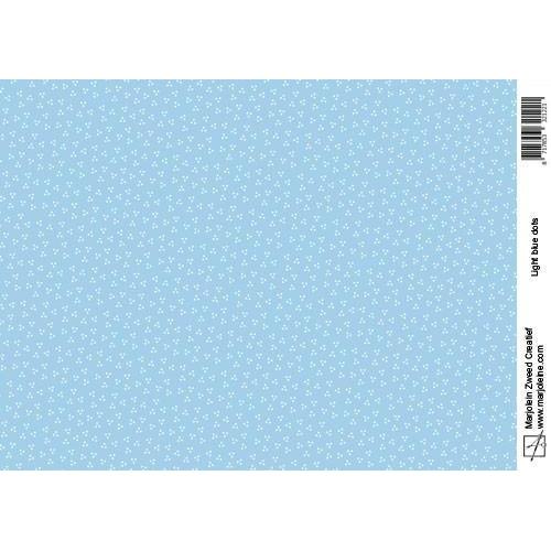 Marjoleine`s Achtergrondpapier - light blue dots A4