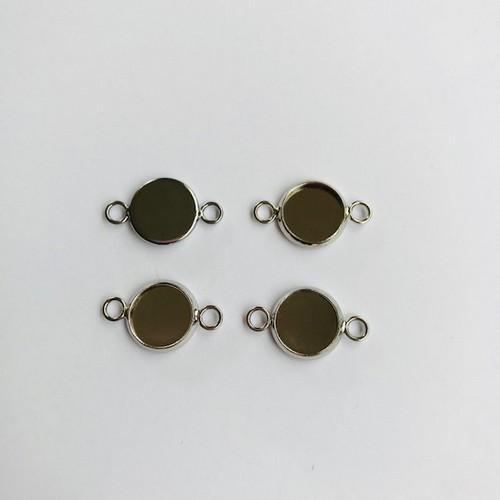 Hanger met 2 ogen rond 10mm zetting (voor epoxy) 4st 12332-3215 (platinum)