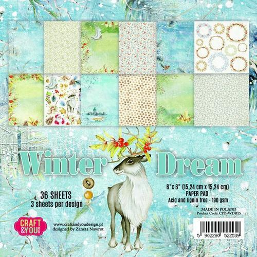 Craft&You Winter Dream Small Paper Pad 6x6 36 vel CPB-WDR15 (09-18)