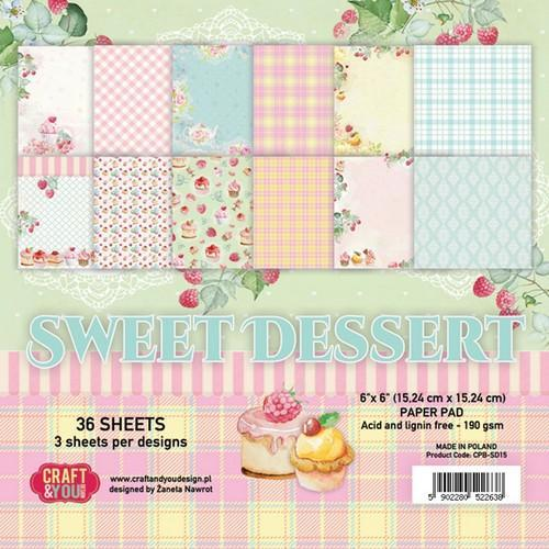 Craft&You Sweet Dessert Small Paper Pad 6x6 36 vel CPB-SD15 (09-18)
