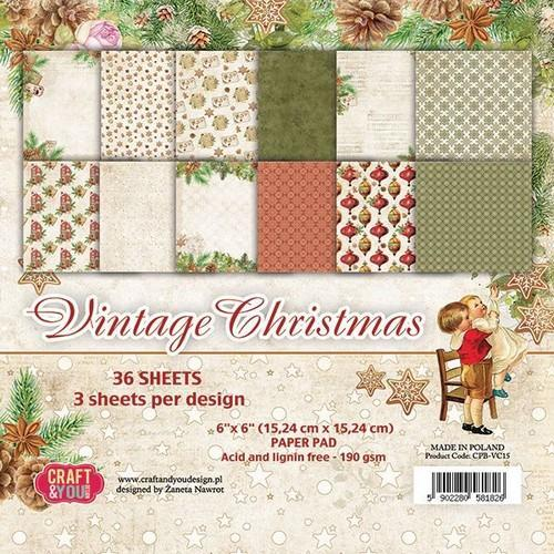 Craft&You Vintage Christmas Small Paper Pad 6x6 36 vel CPB-VC15 (09-18)