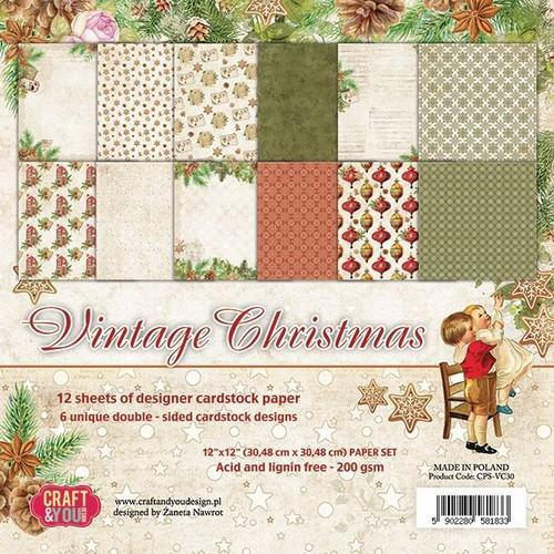 Craft&You Vintage Christmas Big Papper Set 12x12 12 vel CPS-VC30 (09-18)