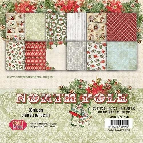 Craft&You North Pole Small Paper Pad 6x6 36 vel CPB-NP15 (09-18)